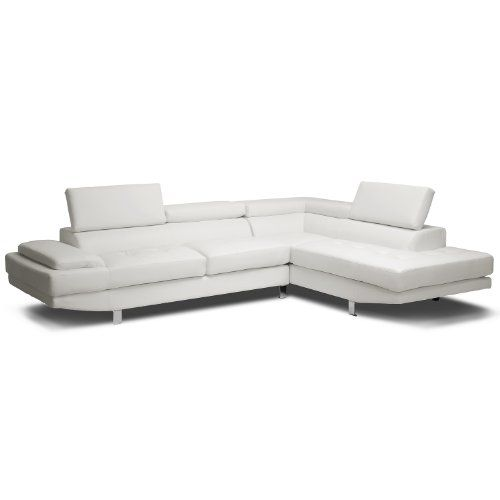 baxton studio selma leather modern sectional sofa white baxton studio. Black Bedroom Furniture Sets. Home Design Ideas