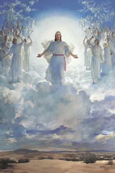The Second Coming of the Lord Jesus Christ With the Hosts of Heaven -by Harry Anderson  I love this painting, in complete (which you rarely see)