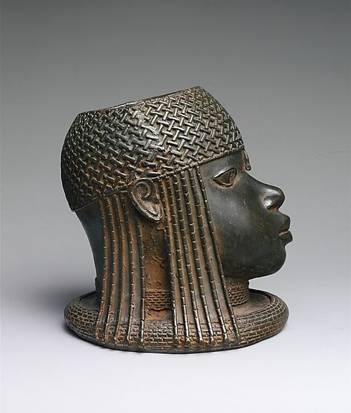Head of an Oba, 16th century (ca. 1550), Nigeria, Edo peoples, court of Benin, Brass, 23.5 cm | The Metropolitan Museum of Art