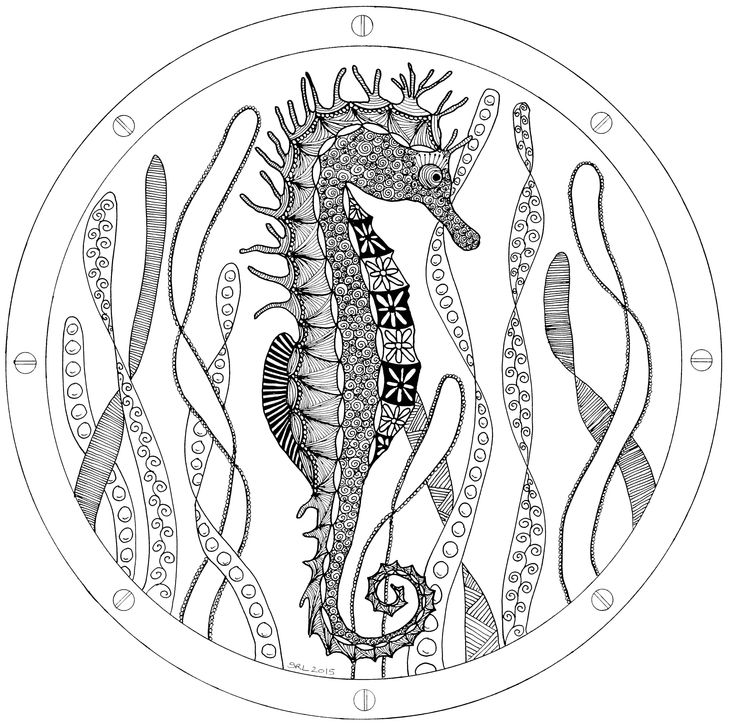 Seahorse seen through a porthole. Zentangle design by Sandy Rosenvinge Lundbye. Copyright 2015.