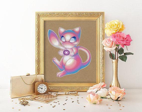Mew Art Signed Print Pokemon Art Pokemon Geek Art Geek