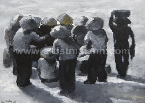 Figurative Oil Painting by artist Mai Anh #MaiAnh. More paintings for sale and biography at : http://maianh.vxartgallery.com