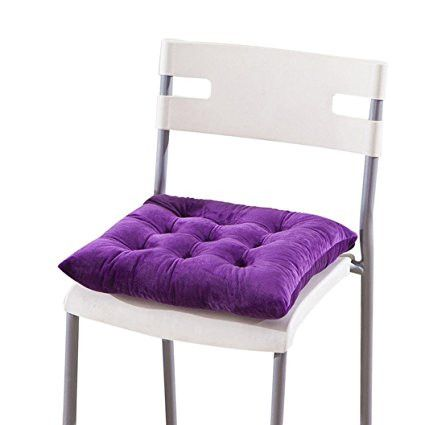 "PatioA Oksale Cotton and Linen Solid Color Chair Seat Cushion Pads Mat for Garden Patio Home Kitchen Office,16 ""Ã' 16 Inch (Purple) [Istilo289268]"