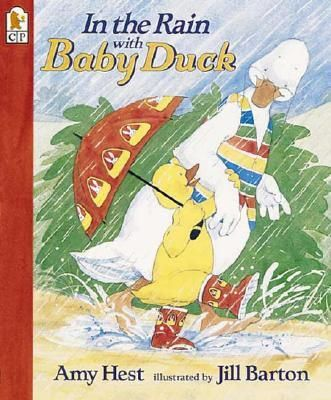 It's a rainy day and Baby Duck hates rain. But Grampa Duck knows how to resolve the problem. So he goes up to the attic and comes back with a little umbrella and rubber boots. Full-color.
