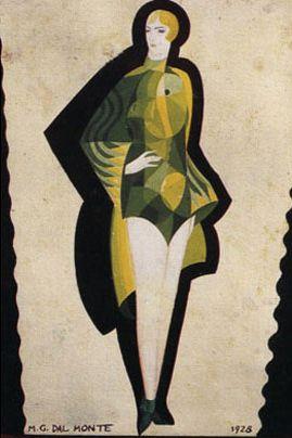 bozzetto di vestito da bagno da donna' by marlo dal monte, 1928
