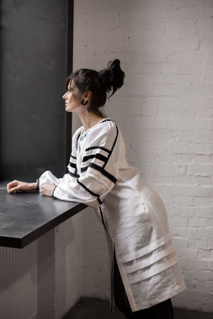 """White linen dress. Sleeves are embroidered lace and velvet. Long bohemian dress. Folk pattern. Boho chic. Made in Ukraine. All the clothes and photos in our shop are made by us. We are the official store of the our workshop Embroidery """"Free People"""". (Vyshyvanka """"Vilni Lyudy"""" in Ukrainian)"""