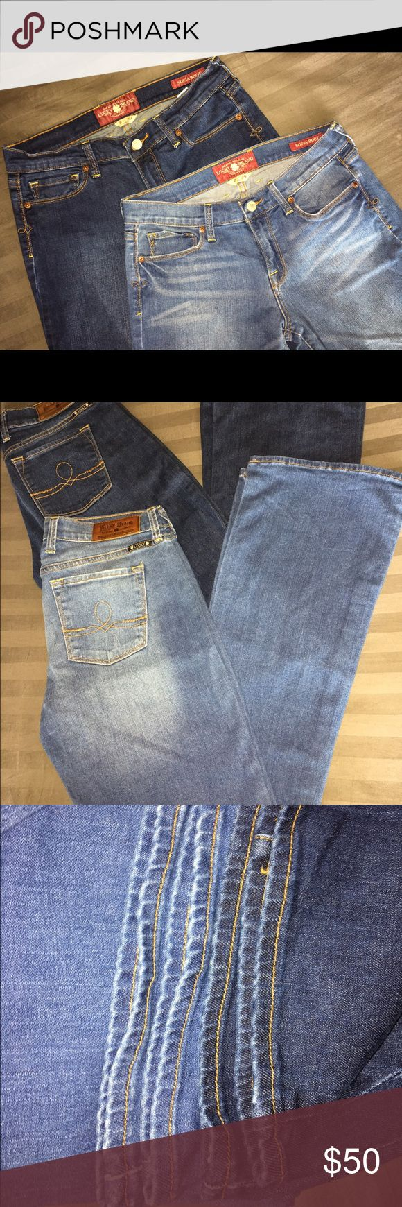 """LOT: 2 NEW WO TAGS LUCKY BRAND 🍀 JEANS DENIM 8/29 I bought these brand-new from the lucky store on sale for $79 each and literally washed them then let them sit in my closet. They are my favorite cut that fit mid-low waist and have a very slight boot cut with a fitted thigh, they make your butt look amazing!!! Unfortunately, my size has changed so I never got to wear these 2 pairs. One is a dark wash, one is a true blue denim wash. Both are size 8/29 Long, 99% cotton/1% spandex. 33.5""""…"""