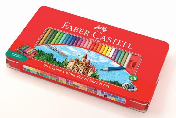 Faber-Castell farveblyant slot tinæske 60 stk.Klassiske farveblyanter i tinæske med slotsmotiv. Tinæsken indeholder et helt nyt sortiment af 60 flotte farver +