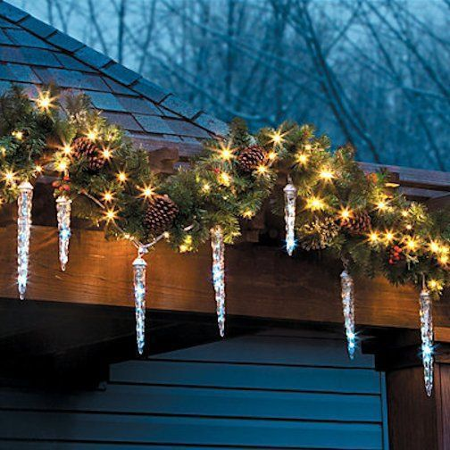 Beautiful ~ SNOWFALL ICICLE LED LIGHT SET ~ 12 ICICLES ~ DIFF SZS ~ SHOOT STAR