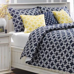 Enter for a chance to win this modern, geometric-patterned navy-and-white duvet set!(Approx. retail value: $239.99)