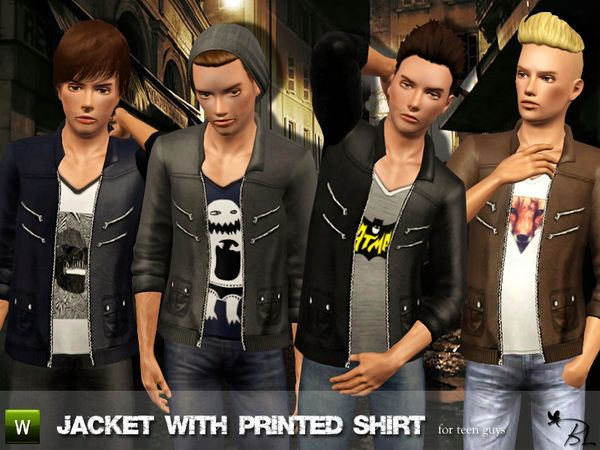 Black Lily's Teen Jacket with Printed Shirt