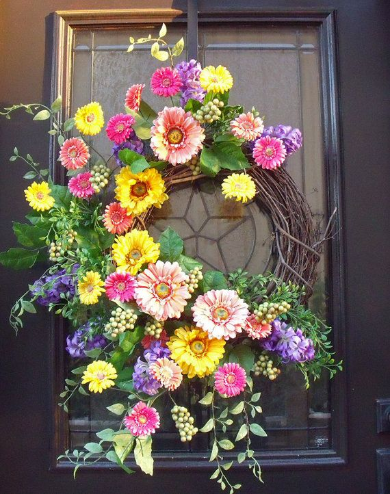Gerber Daisy Wreath Spring Wreaths Easter Wreath by LuxeWreaths