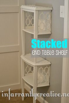 End Table cut in half and stacked on top of one another to create a mini bookshelf: Minis Bookshelf, Tables Shelves, Side Tables, Tables Cut, Diy Crafts, Tables Shelf, Wall Shelves, End Tables, Diy Projects