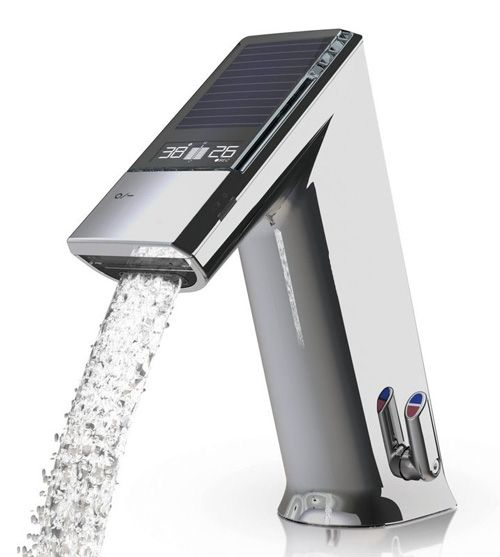 Electronic lavatory Faucet by Iqua. With sensor & display showing water temperature and consumption.