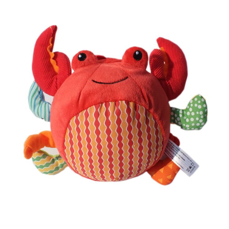 Red  Crab Kids Soft Ball With Sound Paper Baby Activity Training Toy 0-12 Months Mobile Baby Toys Musical Mobile Rattle