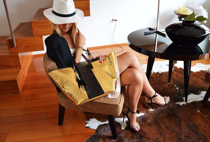 Borsa Mare Cocco Oro/Nera http://bit.ly/WaOmare