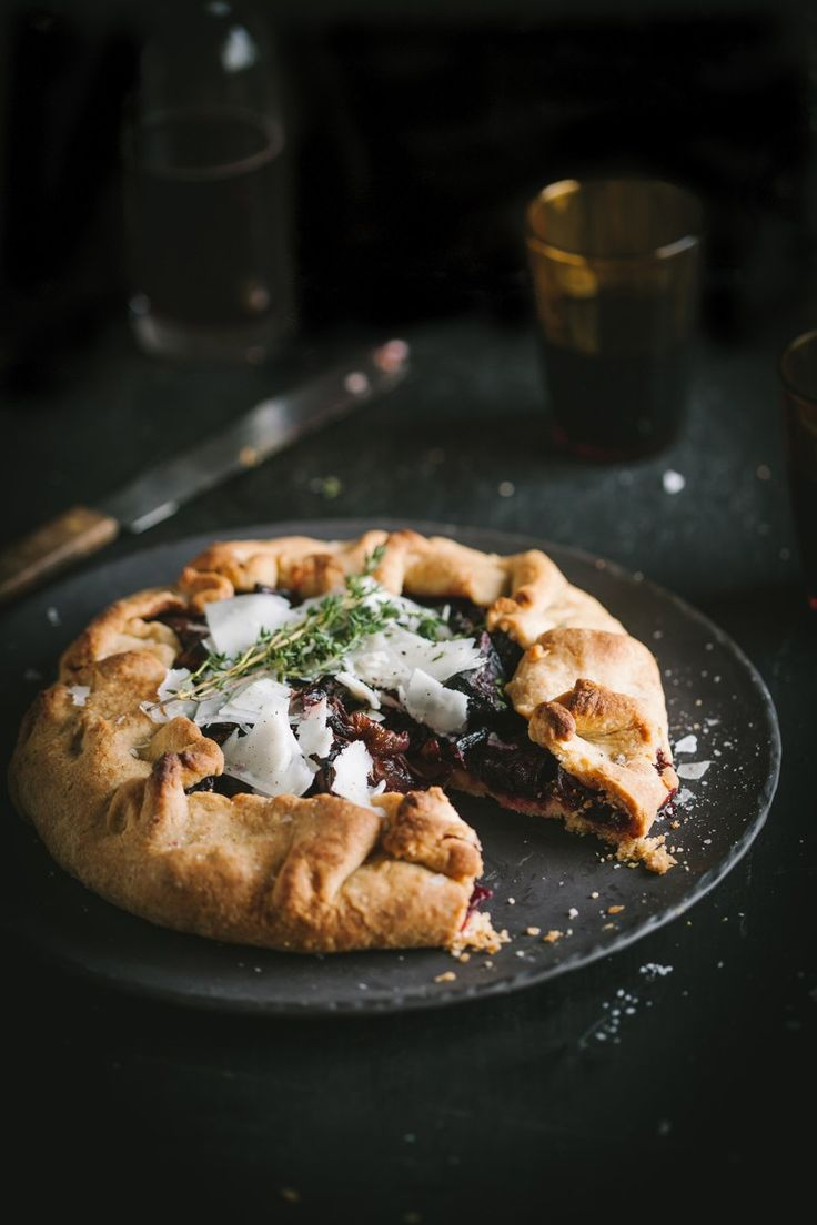 Roast beetroot & onion galette with shaved goats cheese pecorino