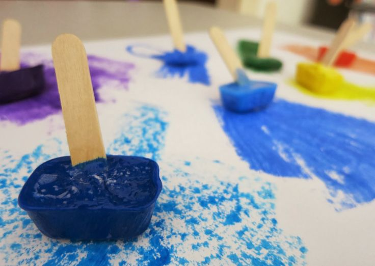 """Paintsicles"". Frozen paint cubes for creative fun. Learn with Play at Home."