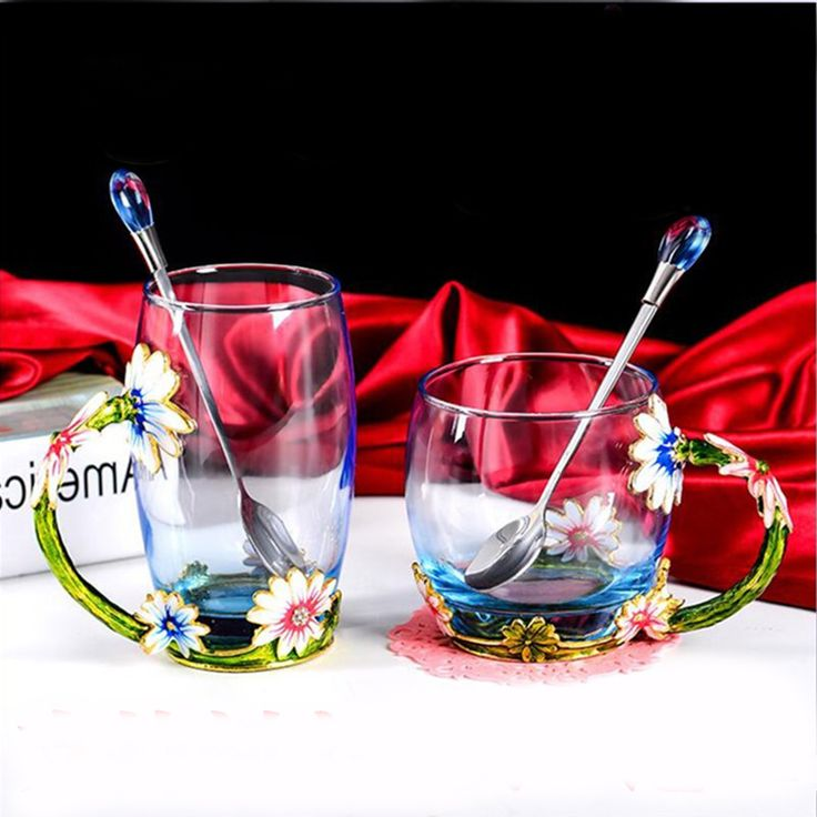 Cheap tea cups with spoon, Buy Quality cup with spoon directly from China cup with Suppliers: Luxury Enameled Crystal Glass Tea Cup come with Spoon Tea Milk Mug Gift Box Package Wedding Gifts 330ml 350ml DEC194