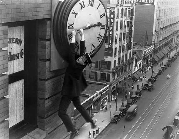 Harold Lloyd (1893-1971)  Son of a Californian pool hall manager, Lloyd entered films as a teenager at the fun factories run by Hal Roach and Mack Sennett, and in 1917 invented a screen persona that lasted him for life – that of a sympathetic, slightly naïf middle-class go-getter wearing a suit, tie, boater and horn-rimmed glasses. He owned what he produced and became rich. In his best, most famous movie, the magnificent Safety Last (1923),