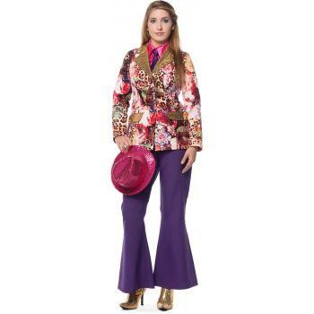 Paarse wijd uitlopende broek voor dames. Leuke fel paarse lange broek die hoog op de heupen valt en wijd uitloopt. Perfecte broek om uw verkleed outfit helemaal af te maken.