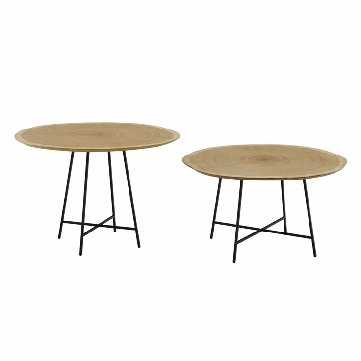 Occasional table with top in transversal cut oak veneer and black lacquered steel base.  Available in 2 height 32 or 40 cm height. 60 cm diameter.