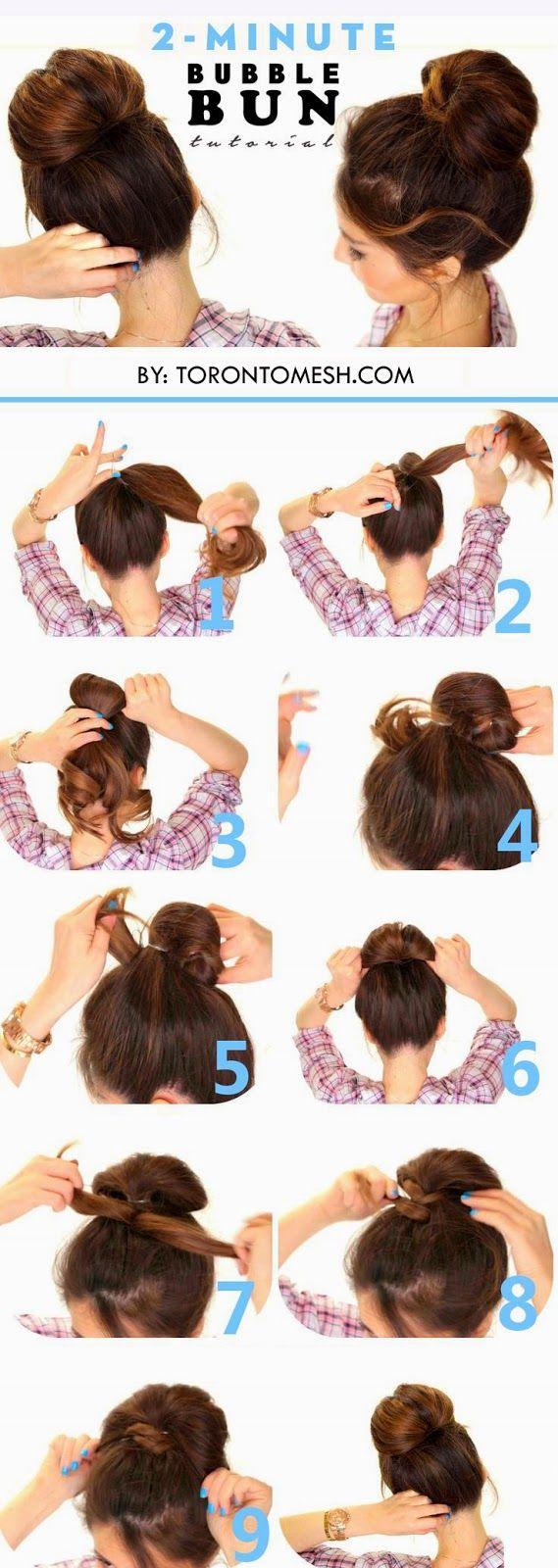 Toronto, Calgary, Edmonton, Montreal, Vancouver, Ottawa, Winnipeg, ON: 2 Minute Bubble Bun Hairstyle Tutorial