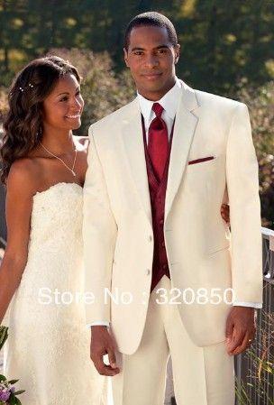 Free shipping/Custom Made Ivory Suit/Burgundy Vest Groom Tuxedos Best Man Notch Lapel Groomsmen Men Wedding Suits Bridegroom(China (Mainland...