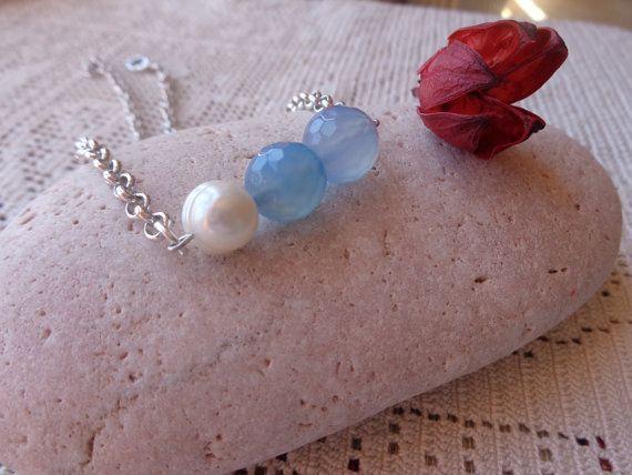 Collana di agata blu e perle di fiume collana a di Myspecialgift