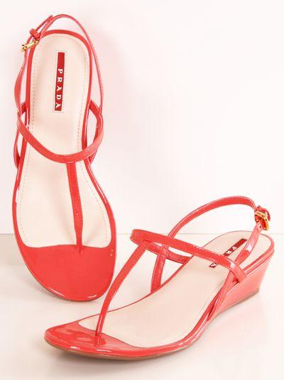 Prada coral patent slingback wedge sandals