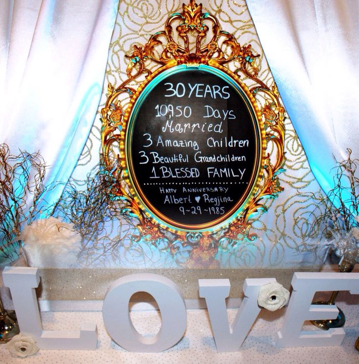 30 th Wedding Anniversary chalk Board sign Follow us on IG @royalbackdrops Royalbackdrops.com