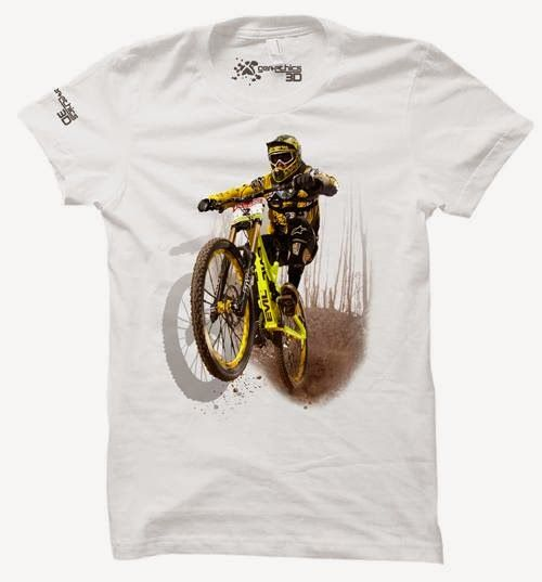 Kaos 3D MTB white Tshirt 3 Dimensi