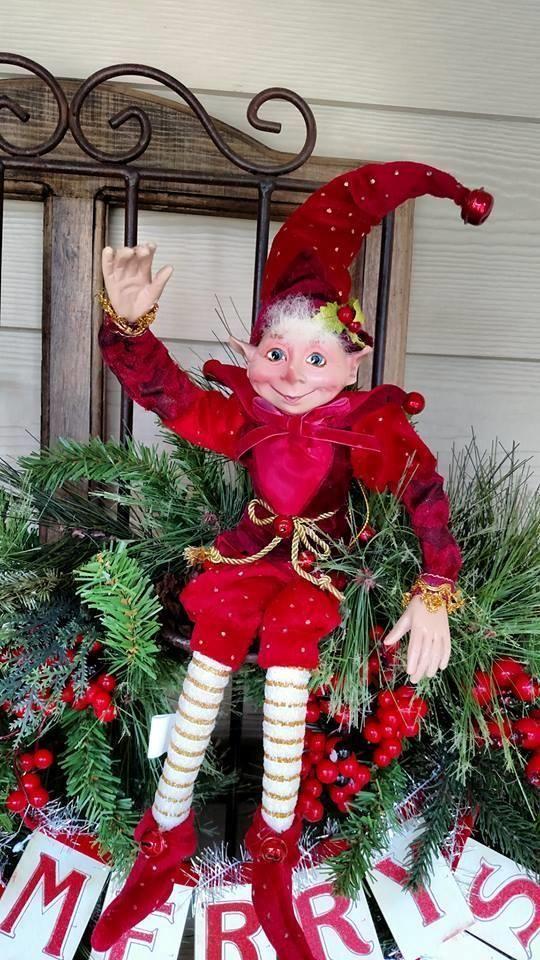 "NWT 17"" RAZ Santas ELF Elves Poseable Figurine CHRISTMAS Shelf Sitter Ornament A #RAZImports"