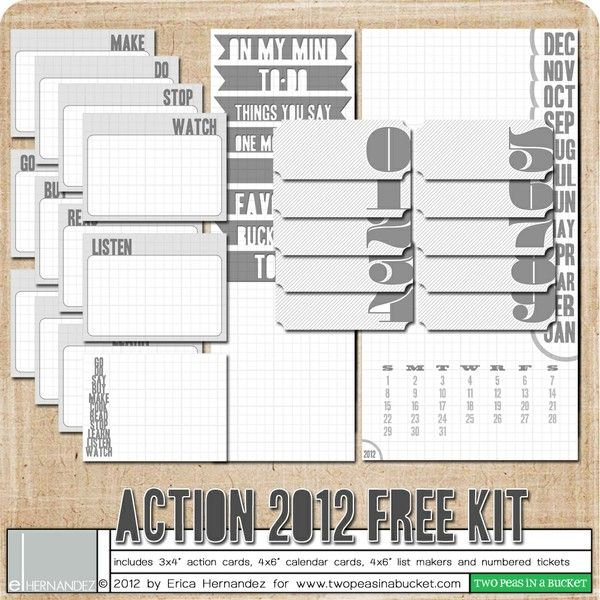 freebie - Action 2012 Free Kit by Erica Hernandez - Two Peas in a Bucket