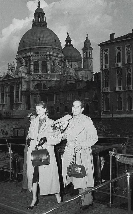 Lauren Bacall & Humphrey Bogart on vacation in Venice, May 1951.