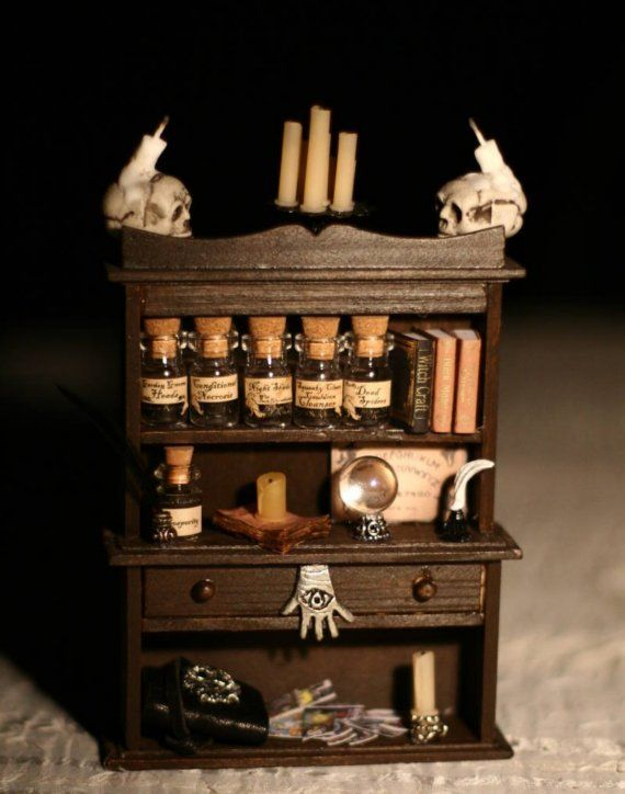 Dollhouse miniature - Dark Magick Pagan Witch or Wizard Cabinet 1/12 Scale - OOAK
