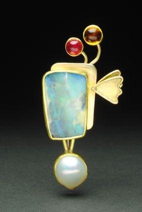 "Yumi Ueno Brooch: "" Angel wing. "" Australian boulder opal, Pearl, Tourmaline, Citrine, 22 ,18KG, S.S"