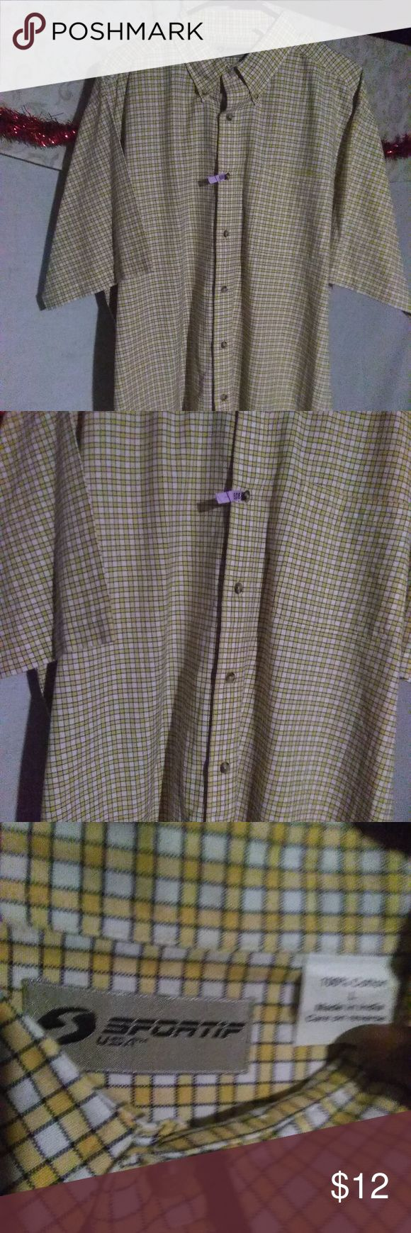 Sportif USA Men's Button Down Shirt (L) NWOT A never used or worn long sleeve button down shirt.The original package broke but there is no damage to the shirt.  It's a Men's size (Large). Color's are White/Yellow checker pattern and made from the following material: 100% Cotton Measurement's:  Length:33 1/4.in  Shoulder:21.in Sleeve:11.in Make an offer on this or any of our item's you like. Bundle and save even more! Bundle deals change! Min 2 for 15% off  Thank you for shopping…