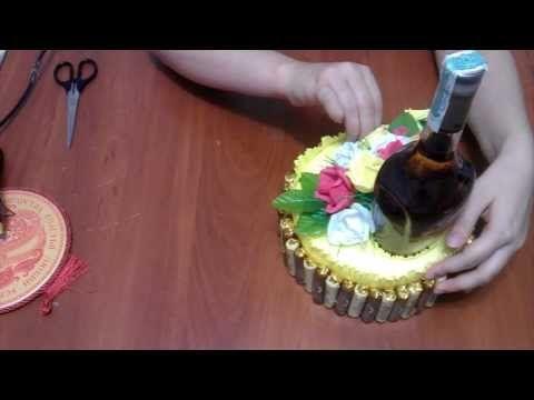 ▶ Как украсить бутылку коньяка. Букет из конфет. - YouTube