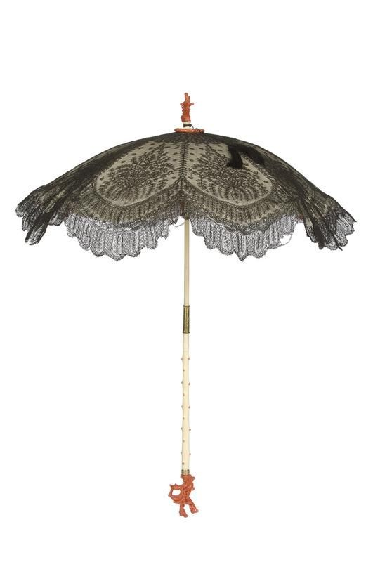 French parasol circa Chantilly lace, satin, ivory, and coral.