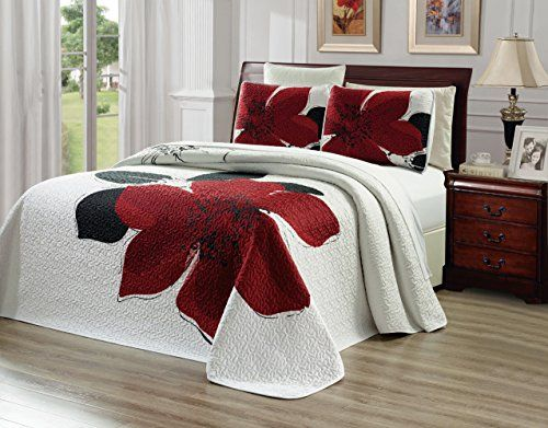 "3-Piece Fine printed Oversize (100"" X 95"") Quilt Set Reversible Bedspread Coverlet FULL / QUEEN SIZE Bed Cover (Burgundy Red, Black, White, Floral)"