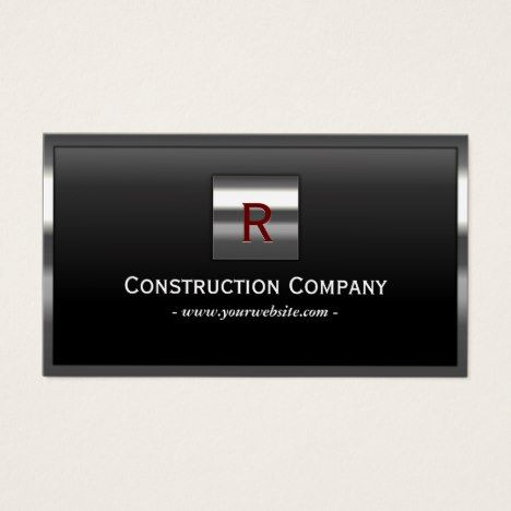 12 best black and white business cards images on pinterest lyrics construction metal framed monogram professional business card reheart Images
