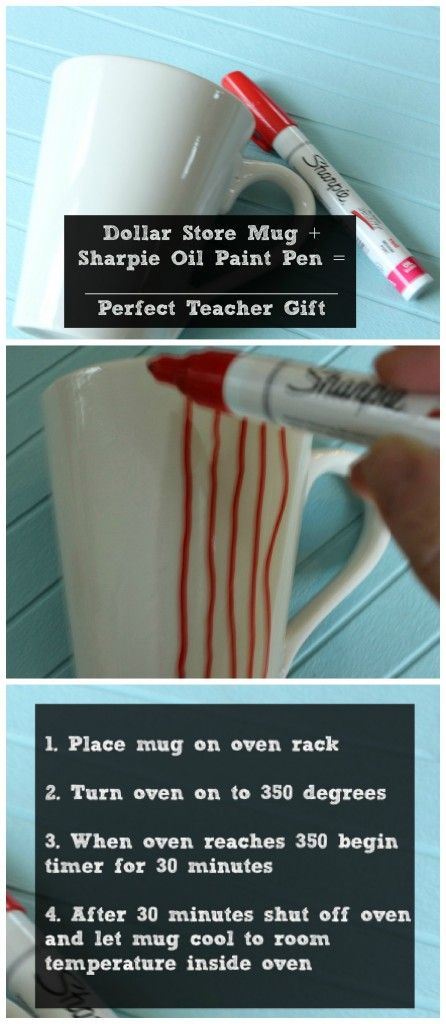 Use a sharpie oil paint en to decorate a mug.@Krissy Feldmann (Sharpie oil paint?)