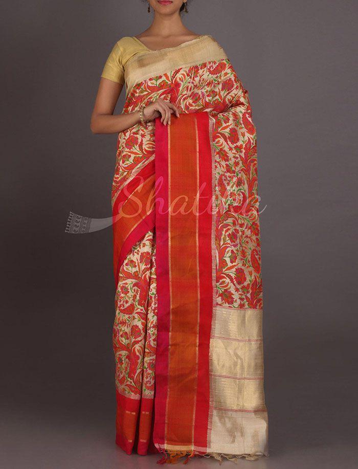 Meghala Attractive Full Bloom Exclusive #HandPaintedSilkSaree