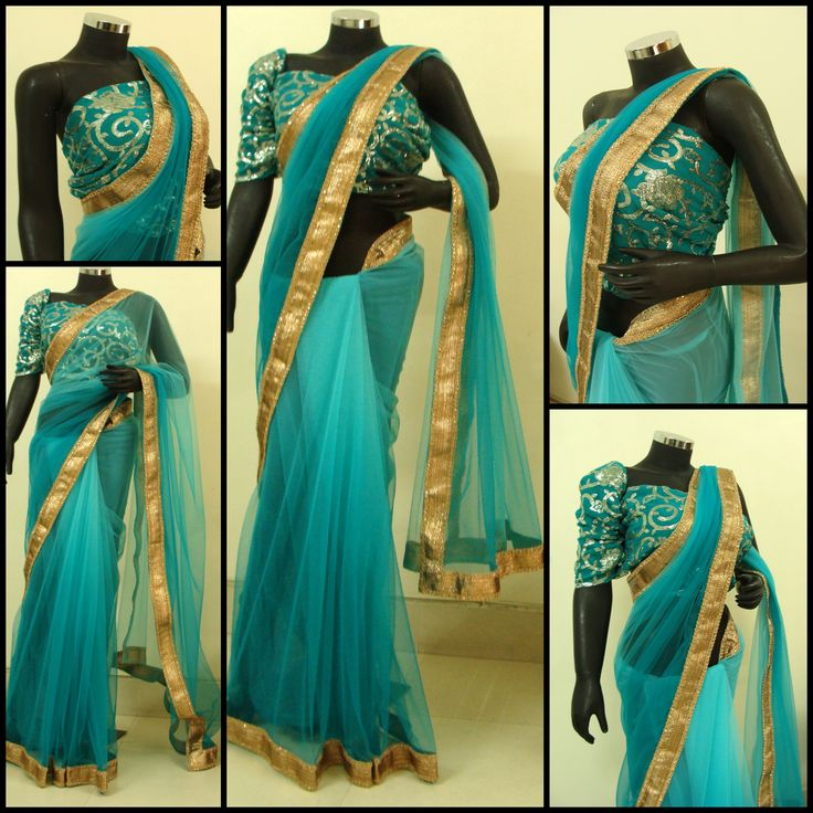 Shaded blue net saree with a gold trim, teamed with a heavy sequin embroidered blouse. Ideal for evening parties.