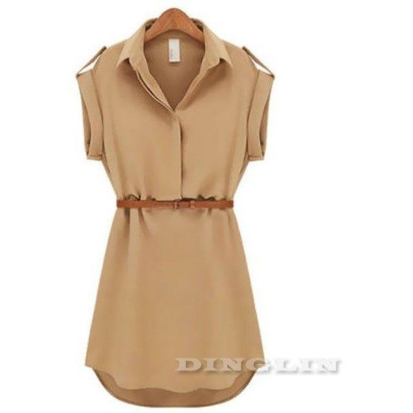 2013 vrouwen mode dames met korte mouwen chiffon toevallige ol riem overhemd een stuk mini jurk maat sml xl