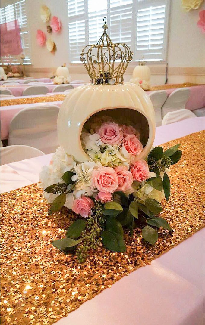 Floral Design | Pink Roses with Crown Centerpiece Marcys Mess