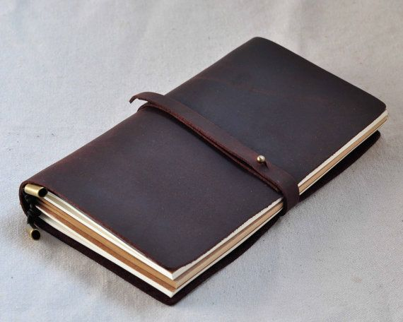 Leather travel Journal  travel notebook    free stamp