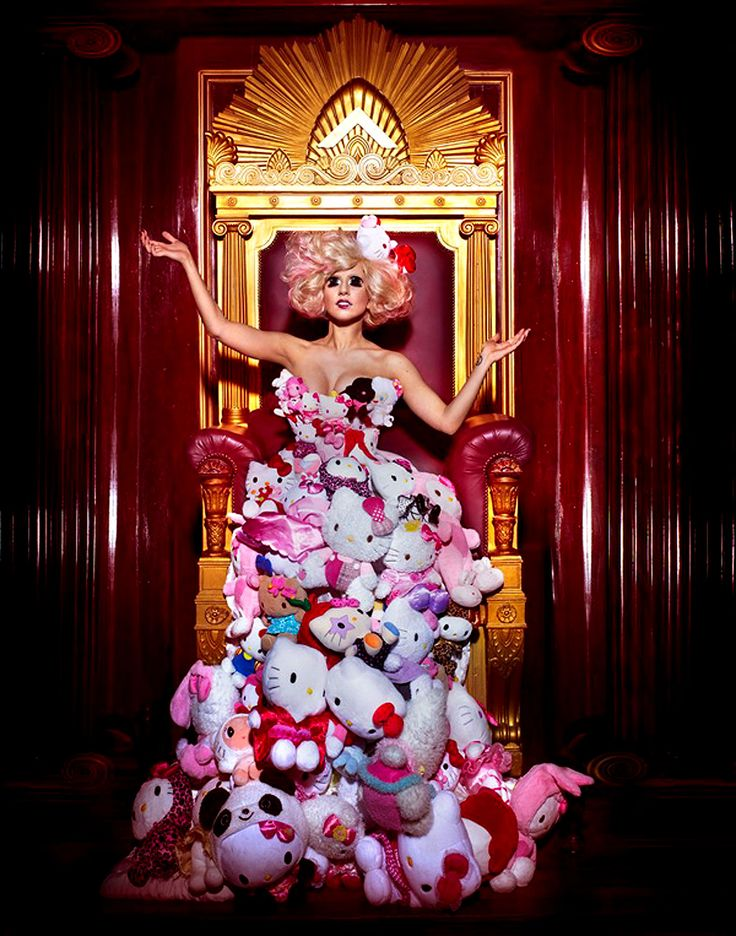 Lady Gaga - Hello Kitty Dress and Manga Eyes, Photographed by Markus Klinko and Indrani for the Hello Kitty 35th Birthday