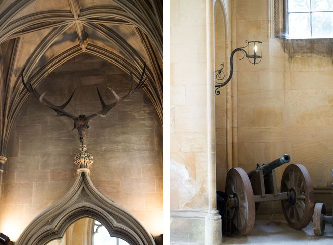 The finial above the Portico doorway is an enormous elk's head, nicknamed 'Pete' by the staff, which was found in an Irish peat bog and presented to the 4th Duke. The Giant Irish Elk has been extinct for a thousand years, so 'Pete' could be very old indeed.